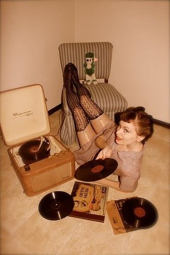 #pinup with #vintage #vinyl #records