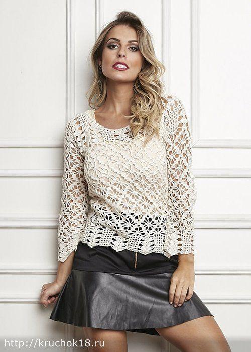 Пуловер крючком - Жакеты,кардиганы,блузки,кофты женские крючком - Каталог статей - Вязание крючком