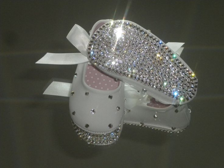 Rhinestone Baby Shoes Clear Crystal Baptism / Christening BLING SHOES