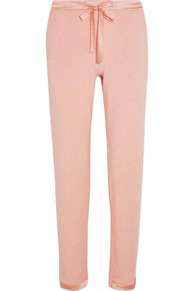 I.D. Sarrieri - Café Crème Satin-trimmed Modal-blend Jersey Pajama Pants - Pastel pink -