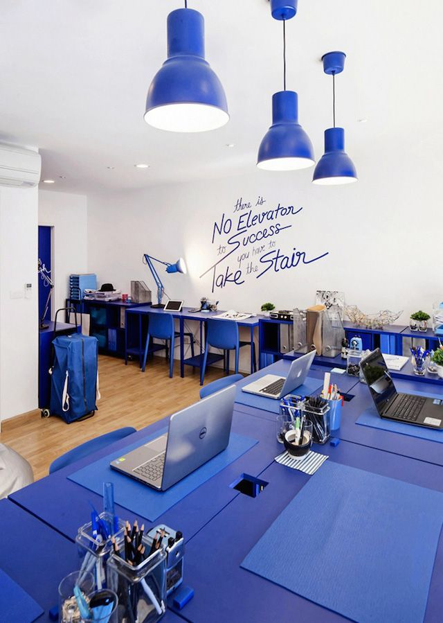 blue office design - colourful office design in bankok