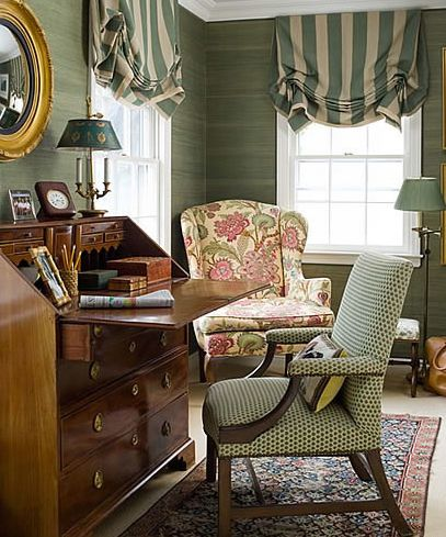 Meg Braff    Love the striped window treatments and chair in corner--great place to read!