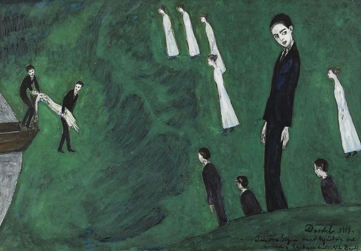 Nils Dardel (Swedish, 1888-1943), Den drunknade flickan I [The drowned girl I], 1919. Gouache on paper, 36 x 50 cm.