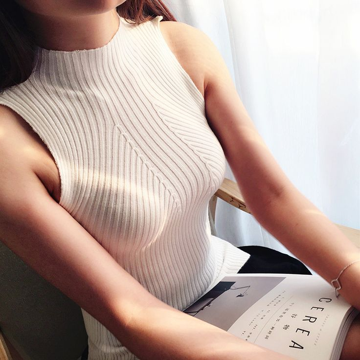 women knitted vest Turtleneck Camis Tank Top Sleeveless sweater female sexy clothing pullover girls cotton tops XY3052