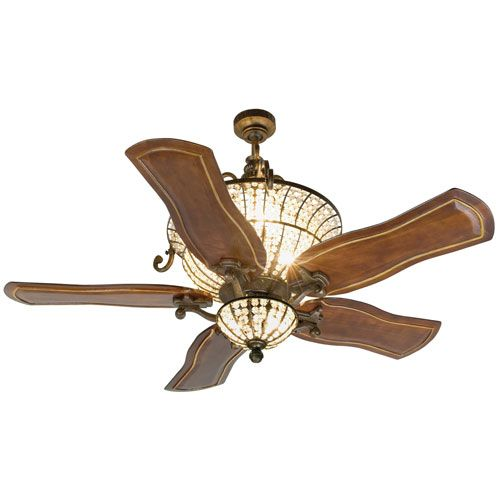Cortana Peruvian Ceiling Fan With 54 Inch Custom Carved Constantina Walnut Blades And Light Kit