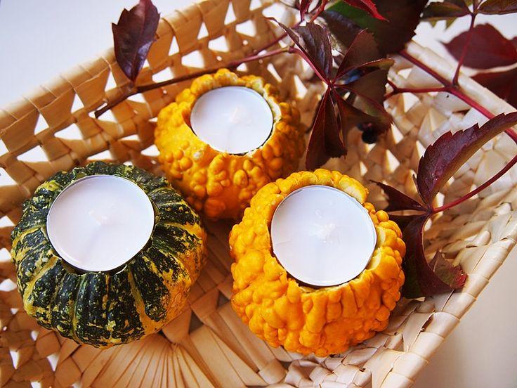 DIY: świeczki z dyni ozdobnej. Pumpkin candles diy