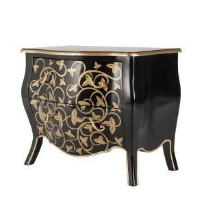 Klassisch und beinahe eine echte Antiquität ist diese bauchige Kommode in schwarzem Hochglanz mit floralem Golddekor.