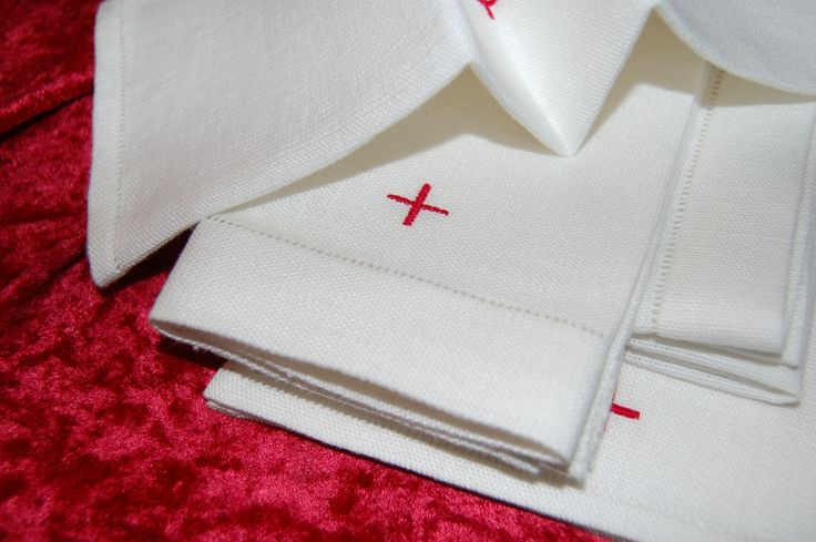 Small communion altar linens set; Warsau linen; finished by hand with olde style Italian hemstitching; set includes chalice pall, corporal, lavabo, purificator; 1.7.17
