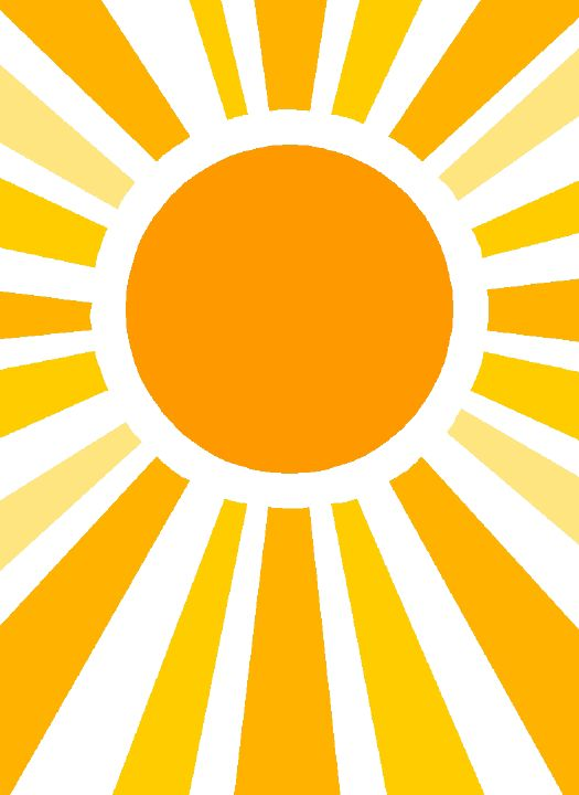 I could possibly make the rays of sun bleed off the page like this clip art image.