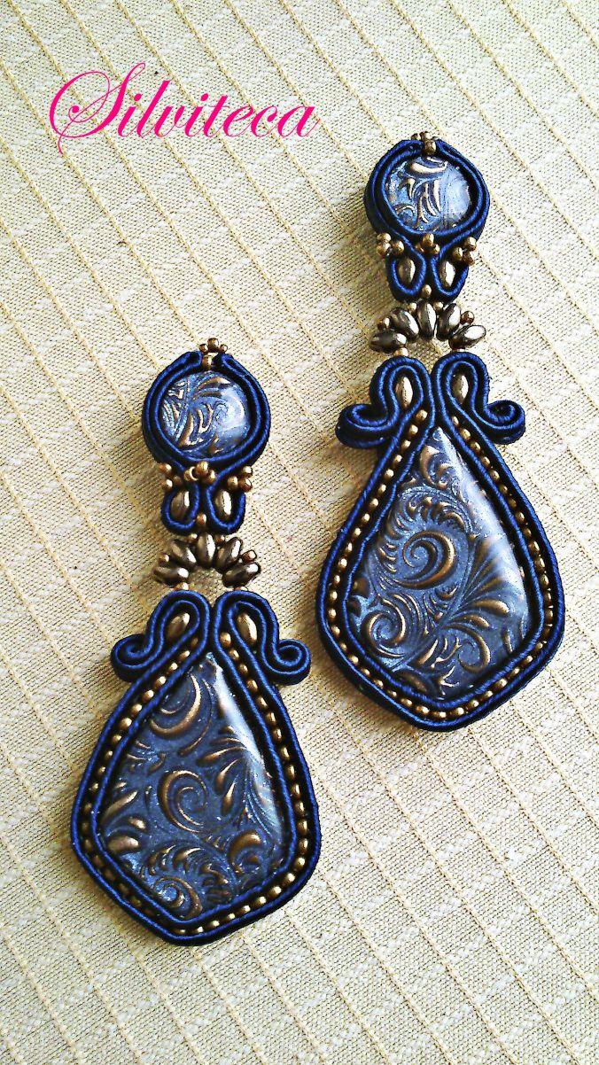 Pendientes soutache en azul marino y bronce con mis propios cabús   Silviteca - Bisuteria y complementos