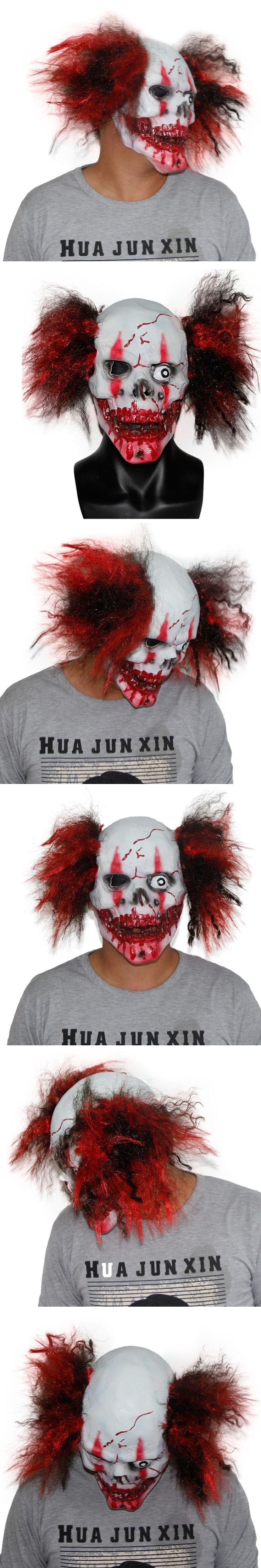X-MERRY TOY Crazy Scary Clown Bloody Skull Mask With Hair Manic Zombie Mask Halloween Scary Evil Cosplay Props