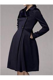 シックな裾ダブルブレストスリムトレンチコート