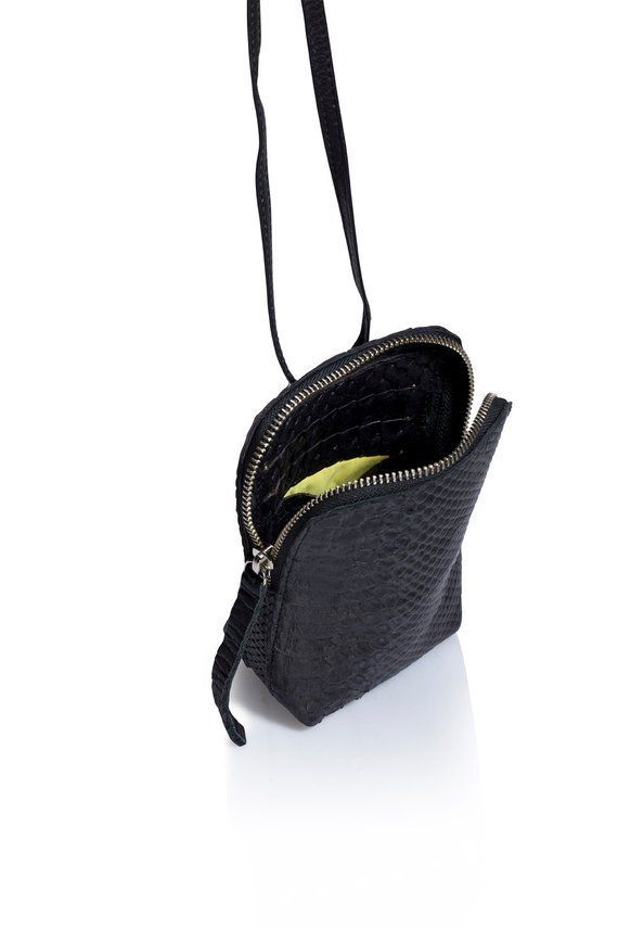 Small black snake leather purse bag SALE small shoulder bag crossbody bag leather zipper bag handmad leather bags evening leather bag
