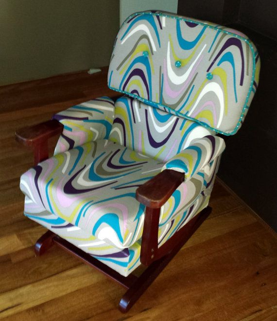 70's platform rocker Danish style upholstered to by Karincansew, $480.00