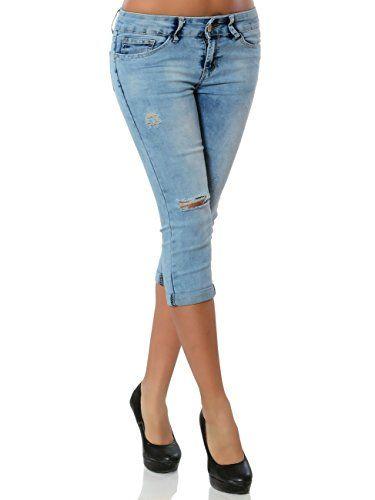 Daleus Damen High-Waist Capri-Jeans Sommerhose Kurze-Hose No 15859  Farbe Blau Größe M   38. Die Größe fällt eine Nummer kleiner aus.. 3 4 La… b2f5ff3e3e