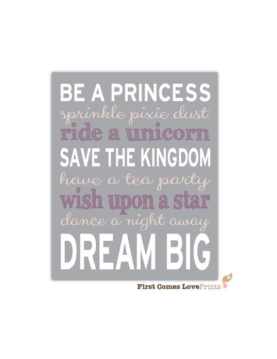 Be a Princess Dream Big Nursery Playroom Custom Art Print 8x10 // Choose ANY Colors // Girl Nursery Decor // Wall Art // Pixie dust // Pink on Etsy, $15.00