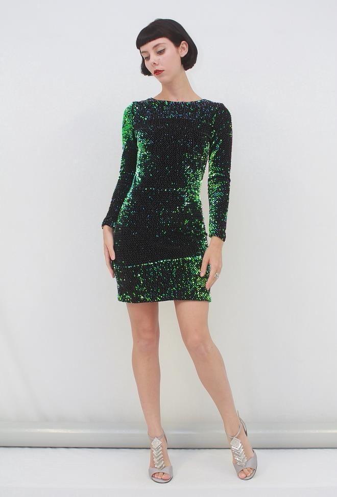 MOTEL Rocks DELUXE GABBY SEQUIN Plunge Back Dress in Iridescent Green AUS 8 XS