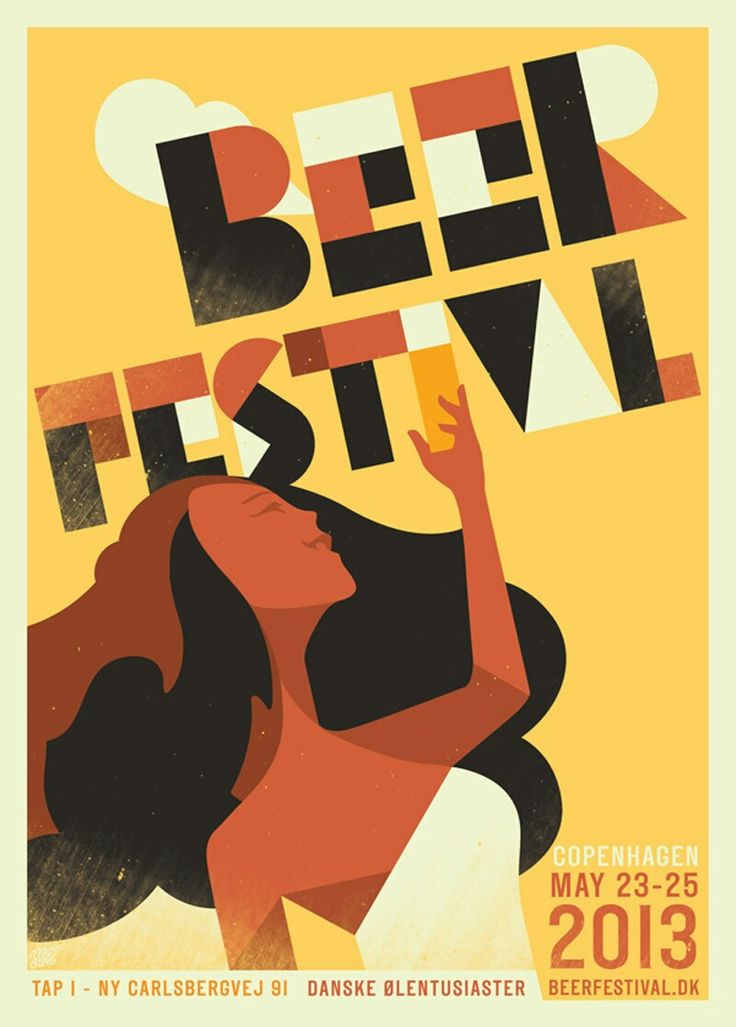 """Love the texture changes, the font, the colors that associate beer, her holding a frothy brew. I don't like how it's just """"Beer Festival"""" This has to be a student's project for a class. Seems to vague and lifeless."""