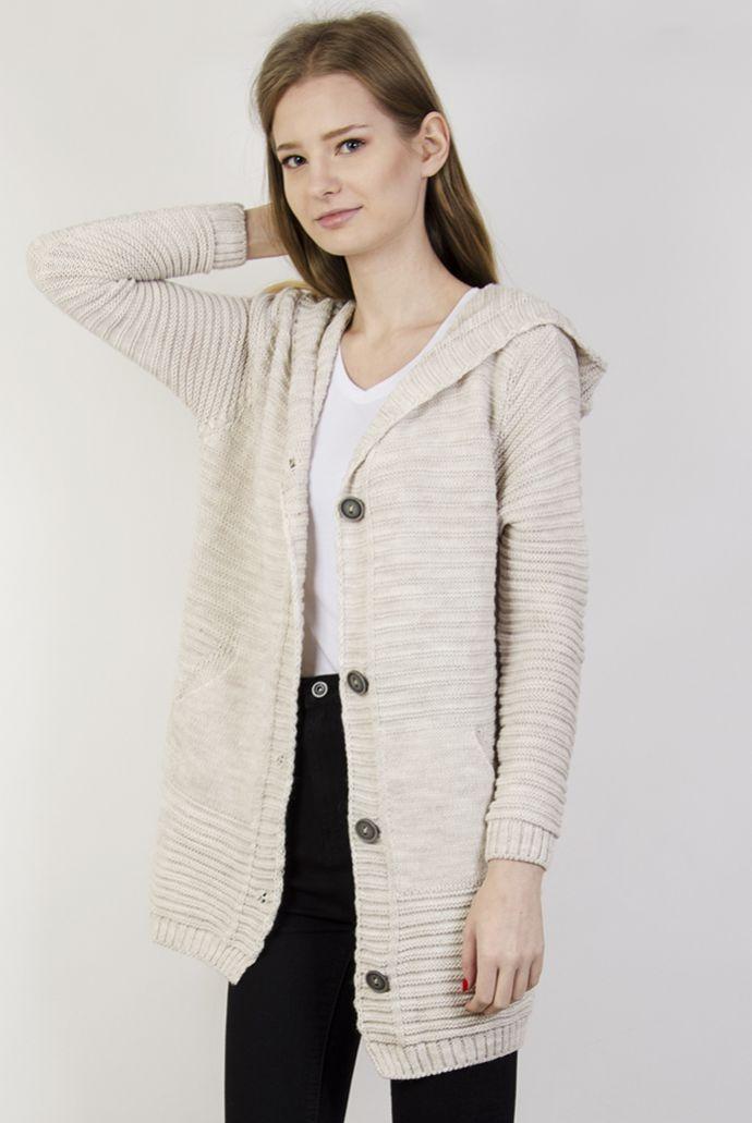 Sweterek beżowy zapinany na guziki, z kieszeniami