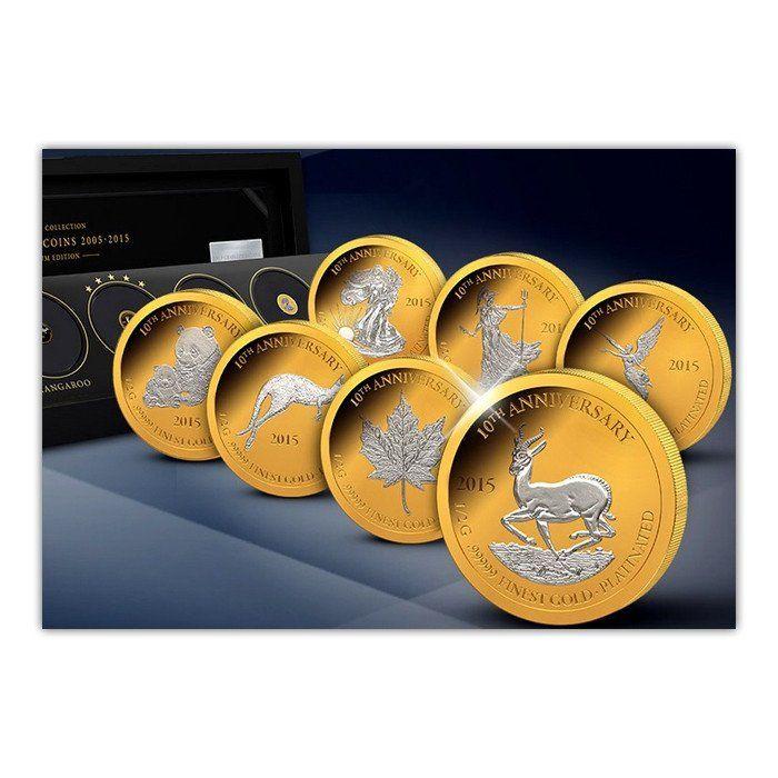 2015 Gabon 7 X 1/2 Gram 10th Anniversary Gold Platinum Edition Proof Coin Set   Gift