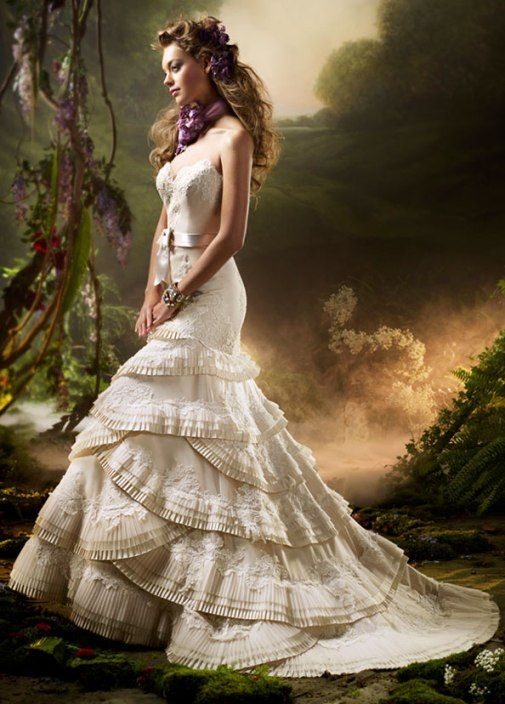 Modern Victorian-inspired wedding dresses. Actually this would look good as a ball gown.