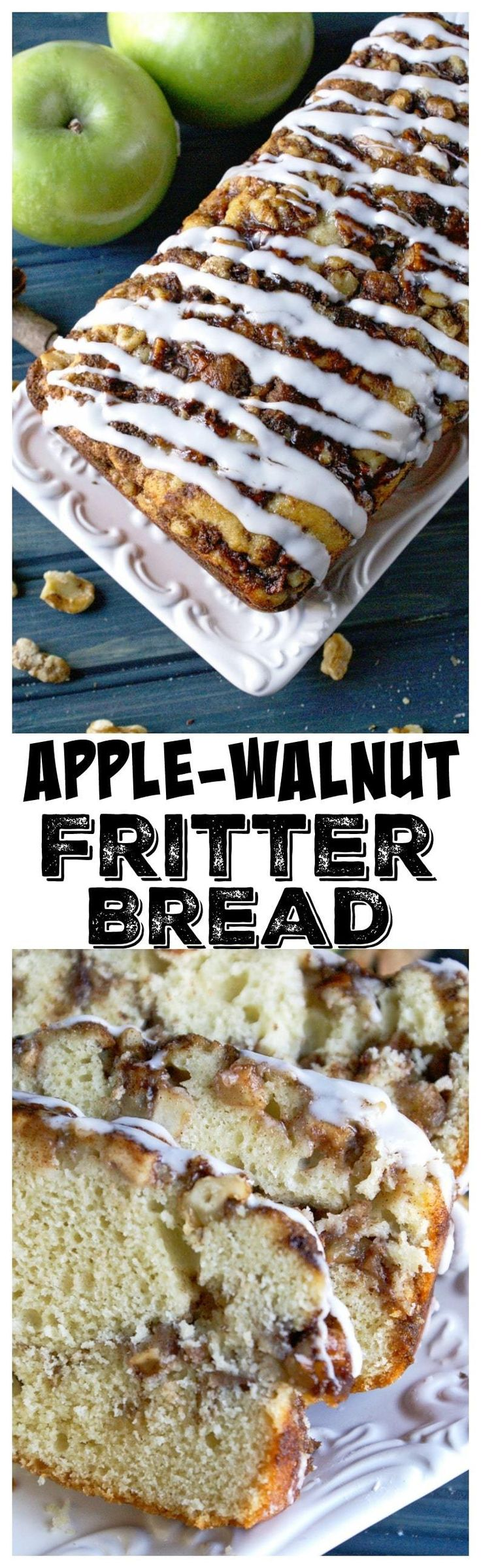 This Apple Walnut Fritter Bread recipe is insanely delicious loaded with apples and swirls of cinnamon. #applebread #applefritterbread #breakfast #dessert