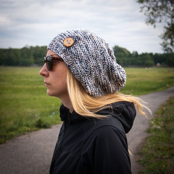 Flecked Slouchy Beanie Hat With Handmade Wooden by RUKAMIshop