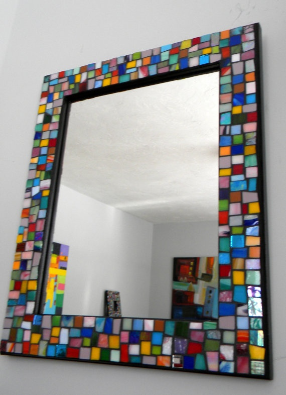 LARGE JEWEL Colors Stained Glass Mosaic by StarryNightStudios99, $75.00