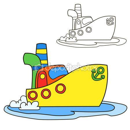 Корабль мотора. Раскраски страницы книги. Векторные иллюстрации шаржа — Stock Illustration #93422278