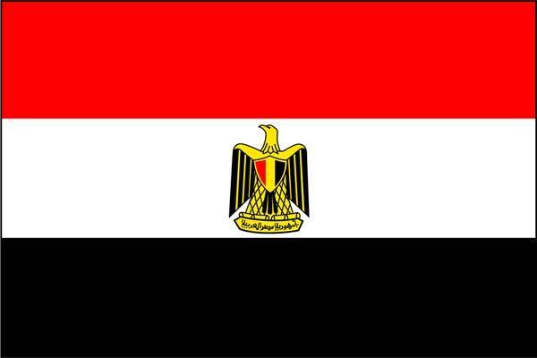 Le drapeau de L'Egypte. Le rouge représente le sang versé par les martyrs ; le blanc, la révolution de 1952 ; le noir, l'époque monarchique ; l'aigle, symbole de l'acuité visuelle, remonterait au XIIe siècle, à l'époque de Saladin.