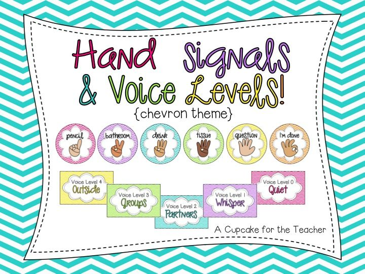 A Cupcake for the Teacher: Hand Signals & Voice Levels! {Chevron Theme}