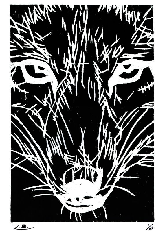 Wolf Woodcut Print by Kelly Blake. Limited Editon of 25, Signed by Artist.