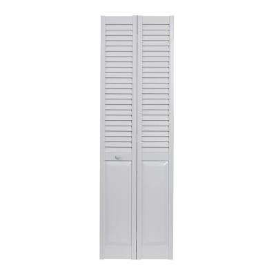 30 in. x 80 in. Louver Over Panel White Hollow Core PVC Vinyl Interior Bi-Fold Door