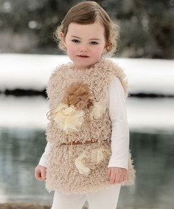 Beige Faux Fur Flower Vest - Toddler & Girls | Something special every day