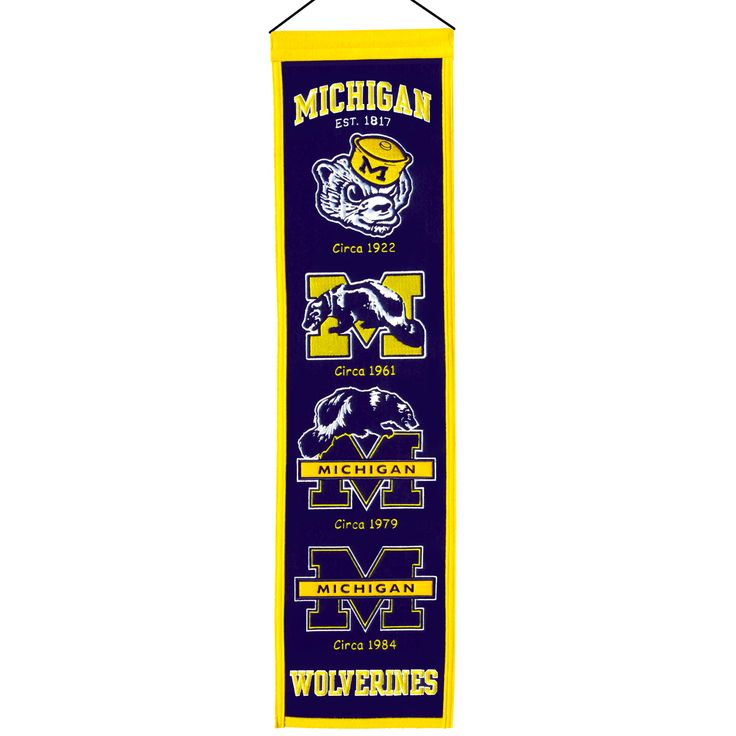 "This beautifully embroidered 8"" x 32"" wool banner tracks the evolution of the Michigan team mascot/logo over the years. This banner is constructed with applique and embroidery and includes a hanging rod and cord."