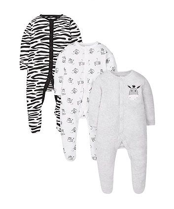 Little Zebra Sleepsuits - 3 Pack