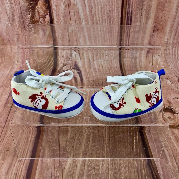 Baby soft sole padded lace up Shoes Monkeys Fish Pattern first walking non slip