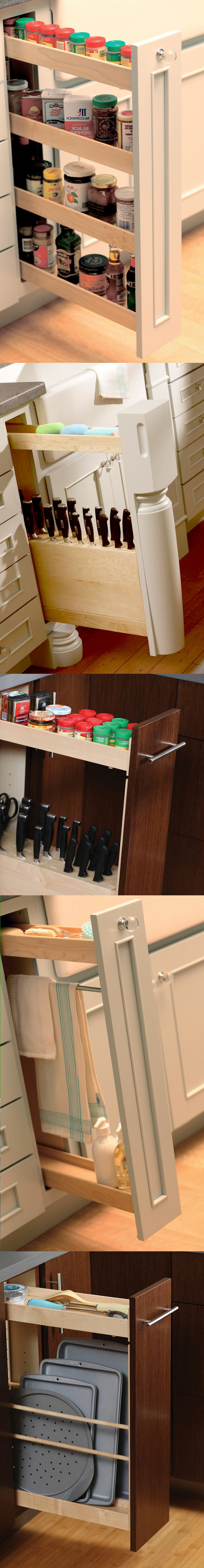 Thin #cabinet #storage ideas and accessories for small spaces and #kitchens - Dura Supreme #Cabinetry