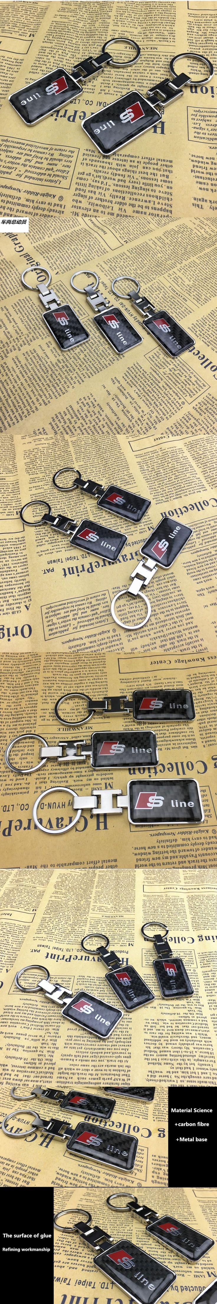 1pcs Hot sale super quality 100% carbon fibre Keychain for Audi Q3 Q5 Sline A3 A5 A6 C5 A4 B6 B7 B8 TT 80 S6 C6 Auto Accessories