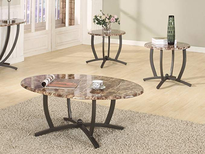 gtu furniture 3pc oval faux marble top
