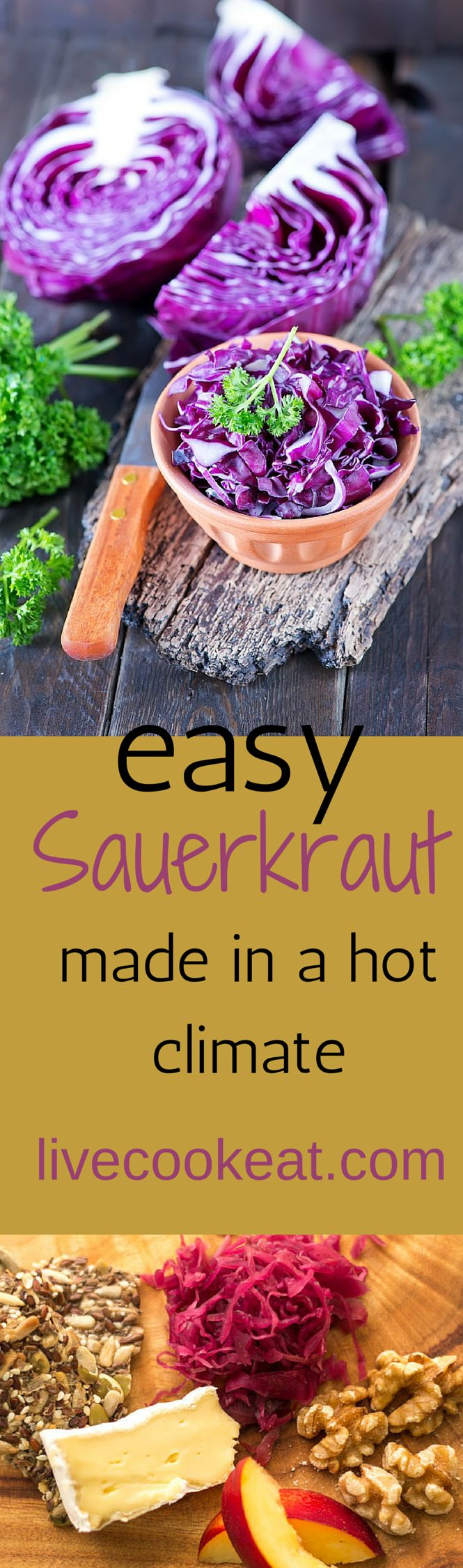 Fermented food is great for keeping our gut healthy Try this easy recipe for Sauerkraut. If you have trouble because you are in a hot climate, make sure you check your sauerkraut often www.livecookeat.com