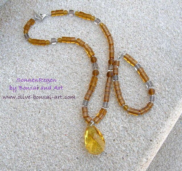 Ketten mittellang - Kette mit Kristallanhaenger u. Armkettchen - ein Designerstück von SonnenRegenschein bei DaWanda