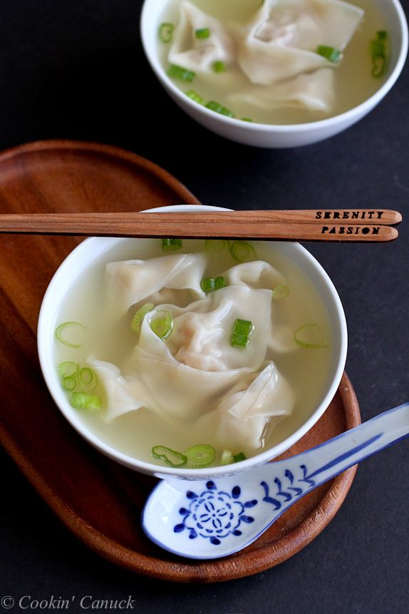 Shrimp and Pork Wonton Soup Recipe...Make easy Asian take-out at home! 174 calories and 3 Weight Watchers PP | cookincanuck.com #healthy