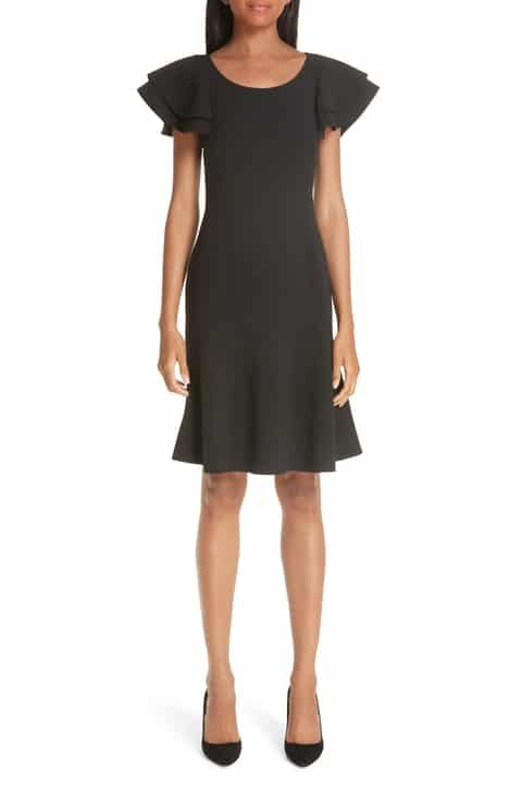 e9df71e554d52 Save money on Michael Kors Layered Flutter Sleeve Stretch Wool Crepe Dress