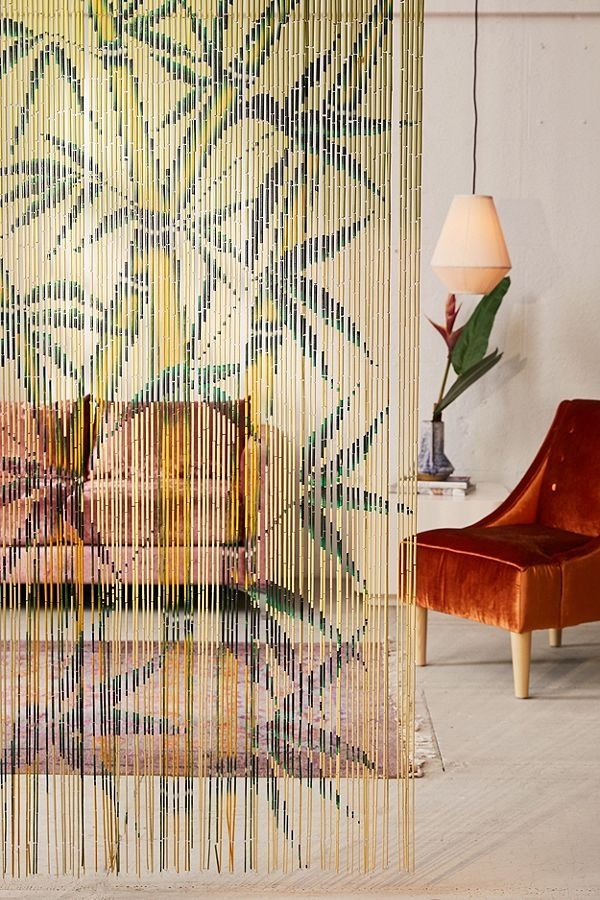 Master Garden Products Tree Print Beaded Bamboo Curtain