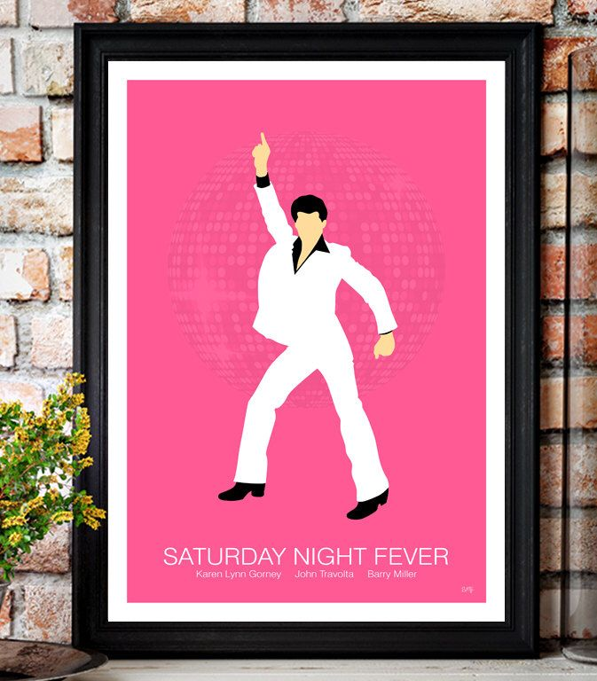 Saturday Night Fever // John Travolta // Minimalist Movie Poster // Unique A4 / A3 Art Print by coloursflyartprints on Etsy https://www.etsy.com/uk/listing/505277141/saturday-night-fever-john-travolta