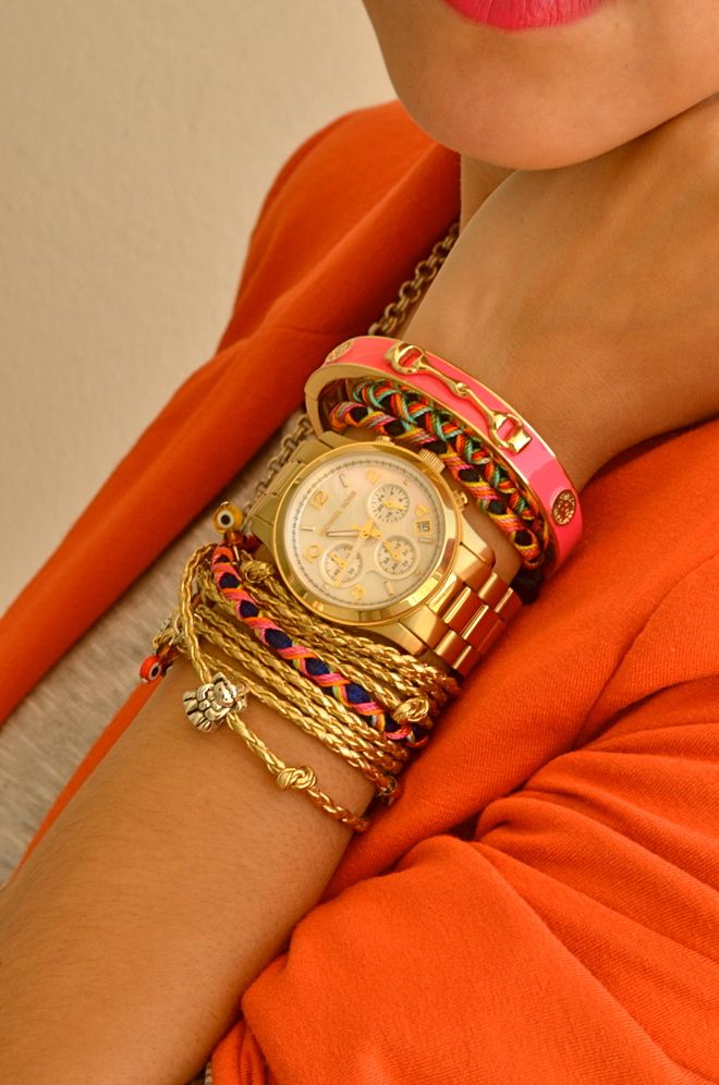 : Colors Combos, Arm Candy, Stacking Bracelets, Armcandi, Wrist Candy, Michael Kors Watches, Gold Watches, Accessories, Arm Parties