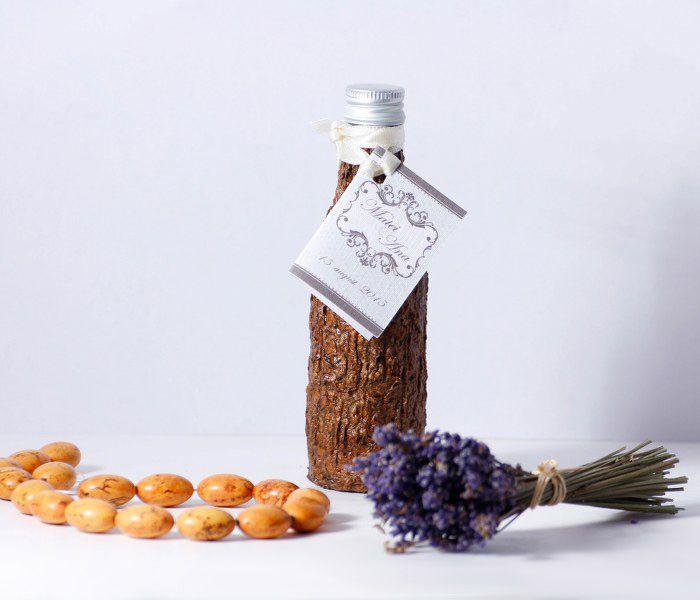 Sticla nunta in scoarta de copac, miniatura 50 ml, poate fi oferita ca si marturie nunta.