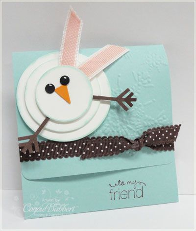 Cute, cute snowman.  Would like to maybe do something similar for tags for my snack mix this Christmas.  Probably smaller.