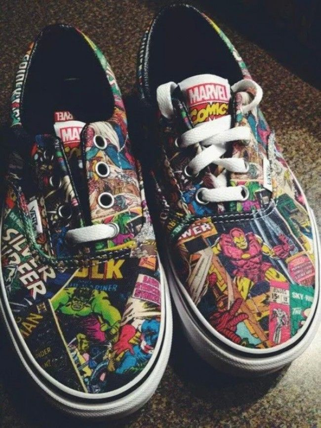 New vans x marvel avengers authentic boys girls youth kids skate black shoes #Shoes #buyable
